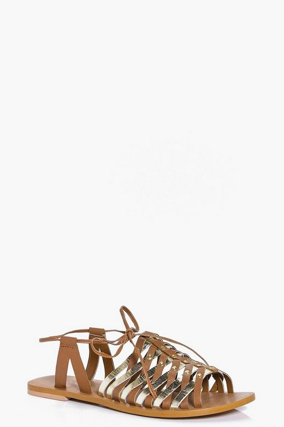 Ivy Leather Woven Peeptoe Wrap Strap Sandals