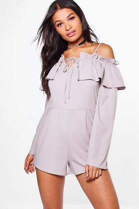 Hanna Cold Shoulder Frill Detail Playsuit