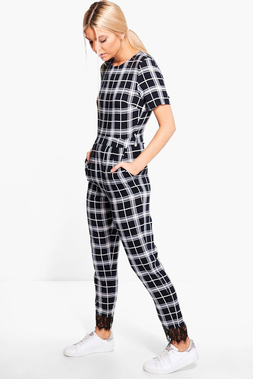 Hena Tartan Belted Round Neck Lace Detail Jumpsuit