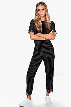 Faye Pinstripe Belted Lace Trim Jumpsuit