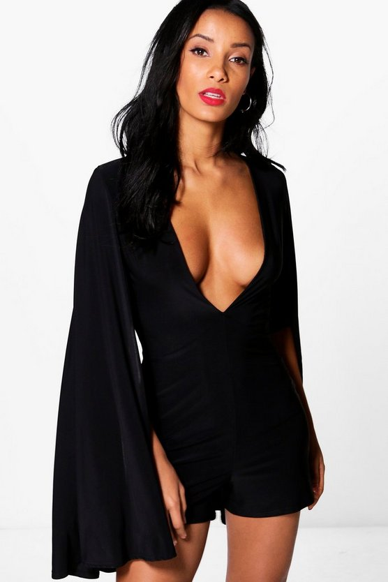 Mia Deep Plunge Cape Playsuit