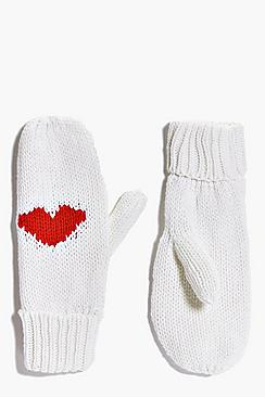Lyla Heart Knitted Fleece Lined Mittens