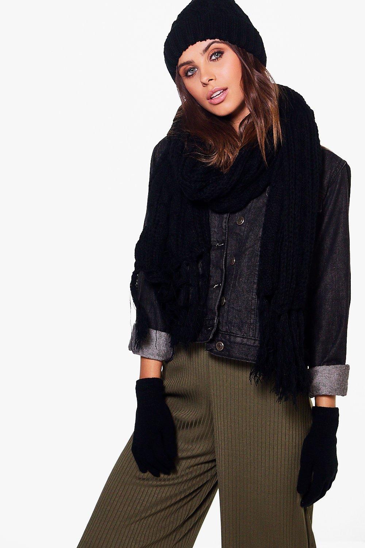 Chunky Knit Beanie Scarf & Glove Set  black