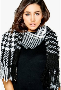 Abbie Houndstooth Fringed Knitted Scarf
