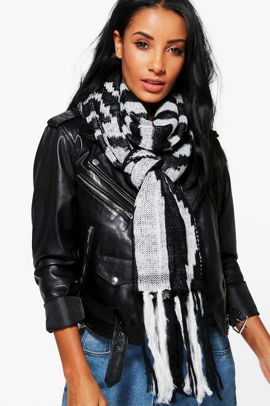Georgina Striped Fringed Knitted Scarf