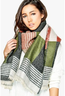 Aleena Colour Block Stripe Blanket Scarf