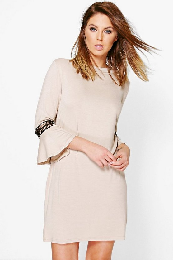 Morris Crochet Trim Flute Sleeve Shift Dress