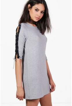Rachel Arm Lace Up Detail Shift Dress