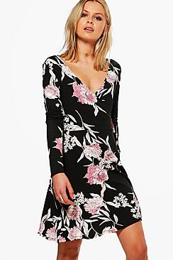 Rockie Floral Long Sleeved Wrap Dress