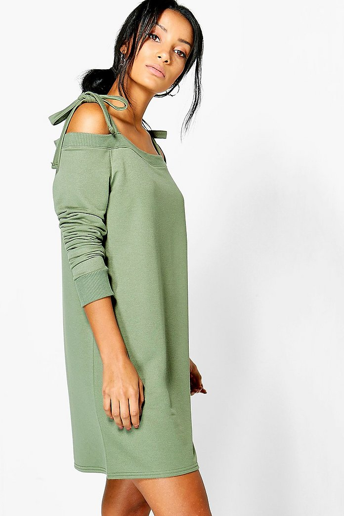Trixie Tie Cold Shoulder Sweat Dress