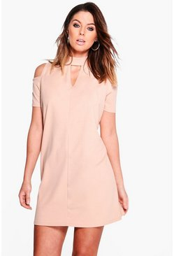 Sabina Cold Shoulder Choker Shift Dress