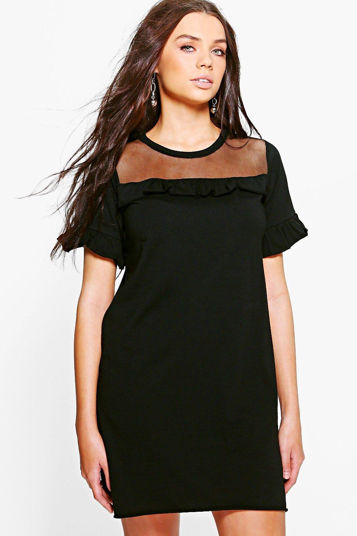 Black t shirt dress ebay - Boohoo Womens Teresa Mesh Ruffle Trim T Shirt