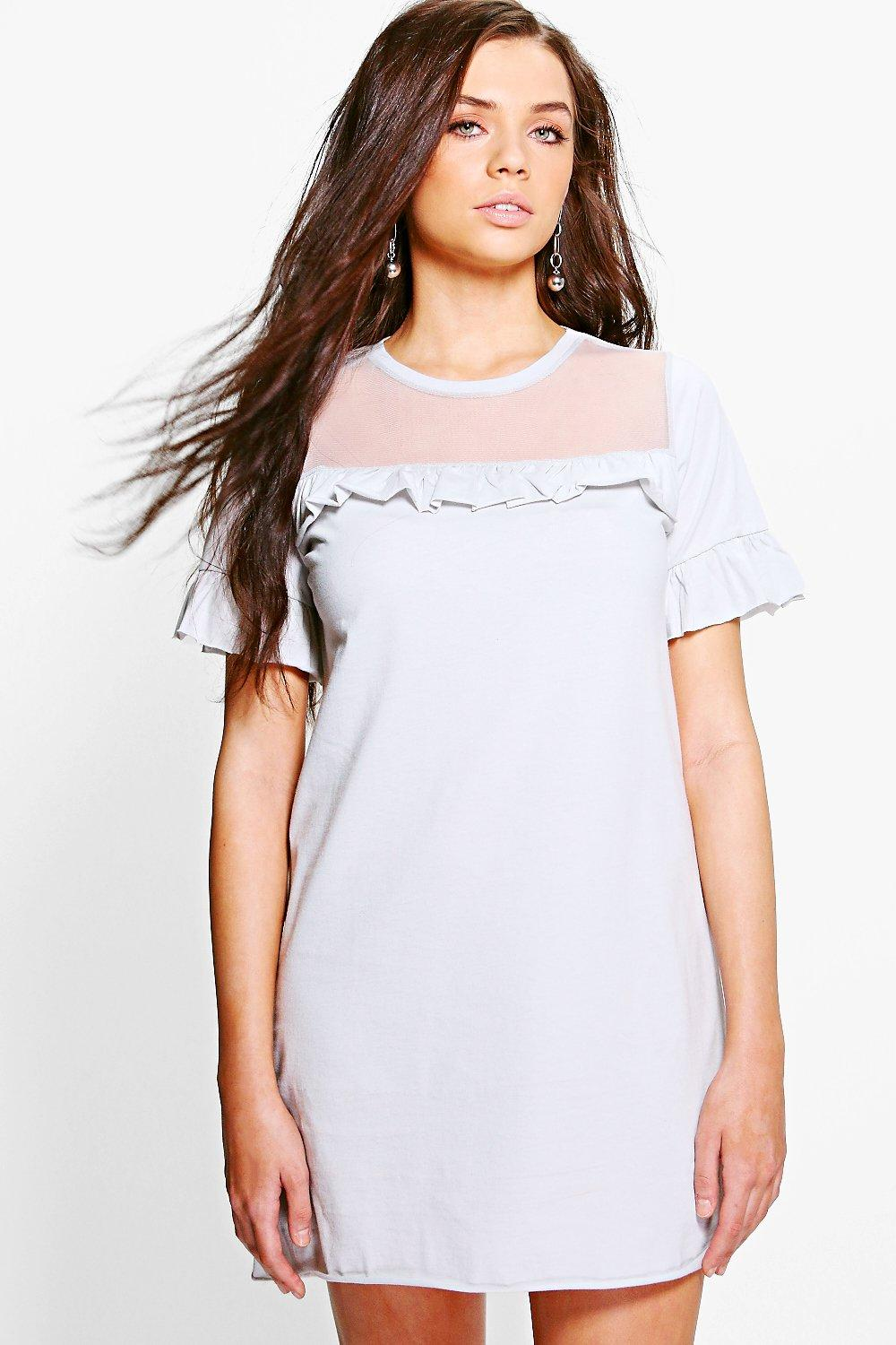 Teresa Mesh Ruffle Trim T-Shirt Dress
