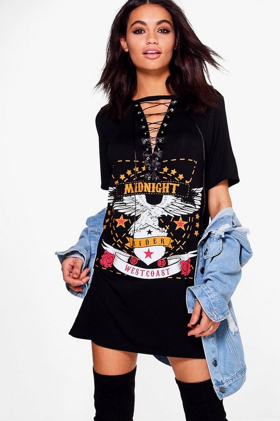 Sheeva Lace Up Band T-Shirt Dress