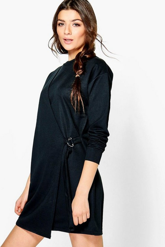 Sakura Buckle Wrap Sweat Dress