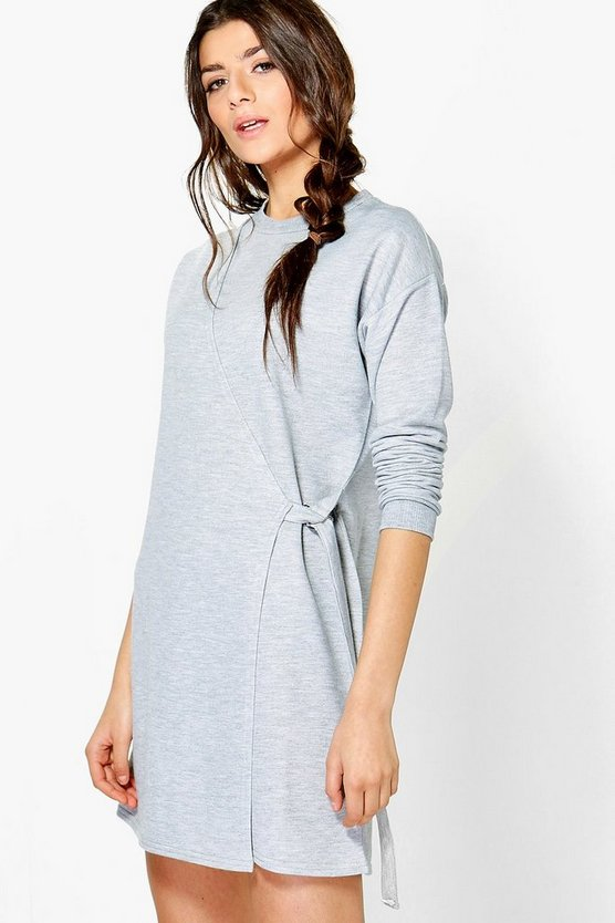 Buckle Wrap Sweat Dress