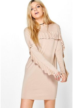 Samara Ruffle Sleeve Tie Back Shift Dress
