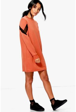 Saskia Mesh Insert Sweat Dress