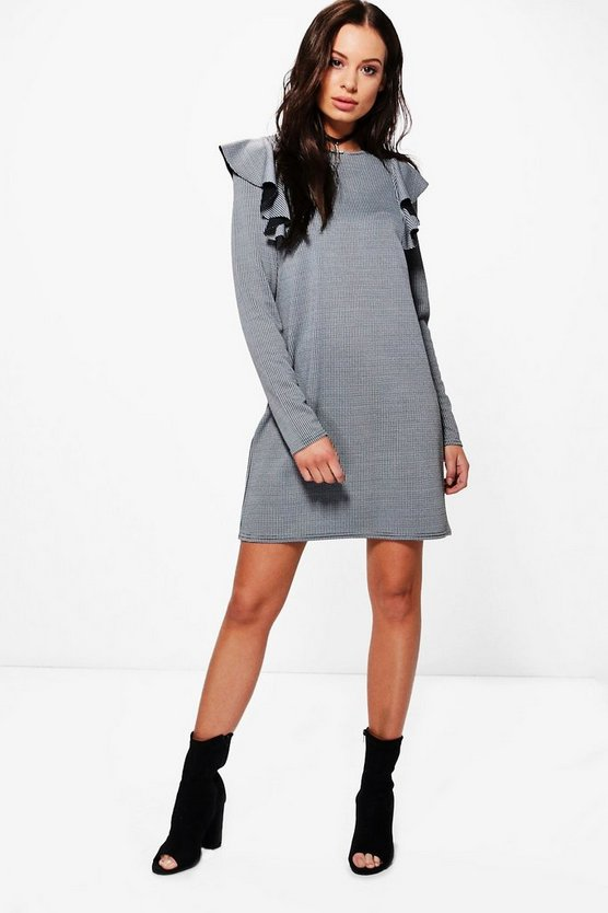 Stassy Dog Tooth Ruffle Shift Dress
