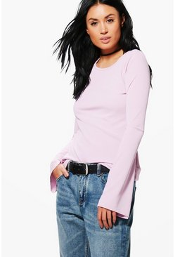 Ria Ribbed Flare Sleeve Top