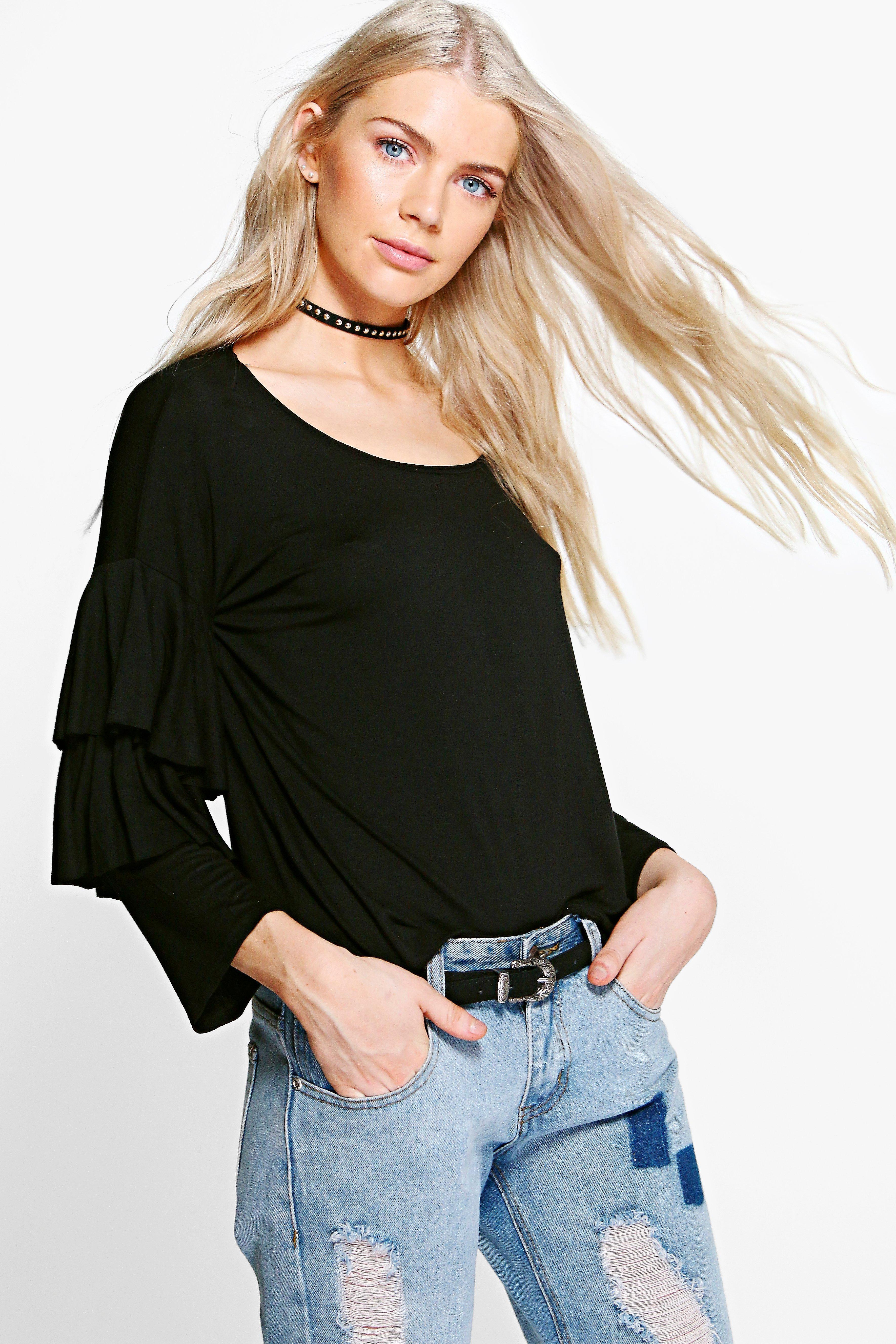 Ruffle Tiered Tshirt  black