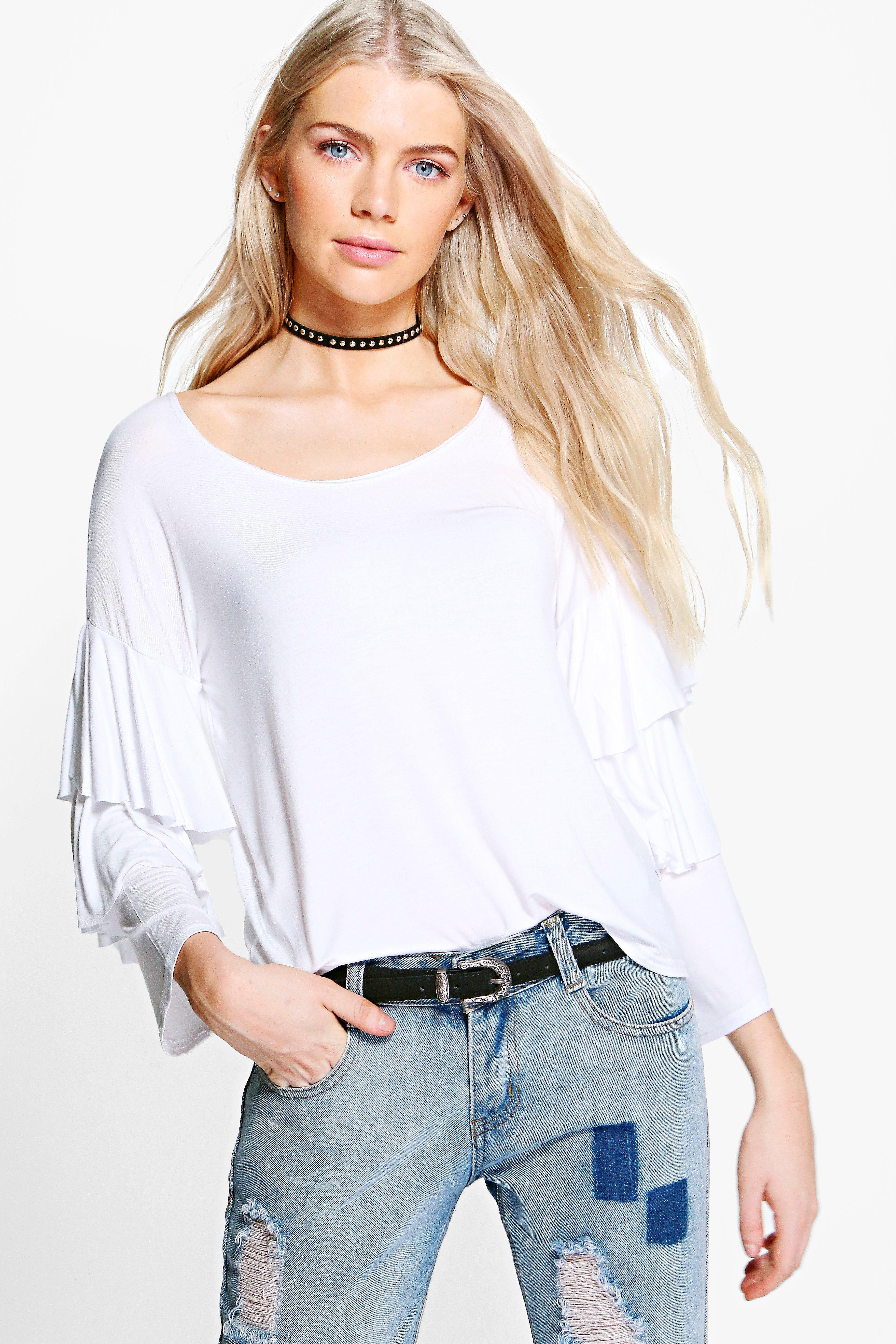 Ruffle Tiered TShirt  white