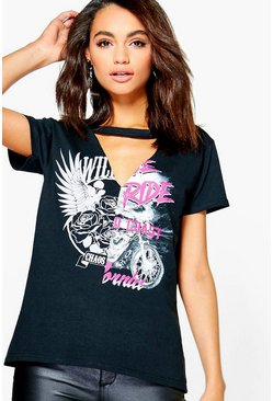 Laura Printed Choker Cut Out Band Tee
