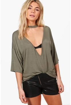 Elicia Extreme Plunge Choker Tee