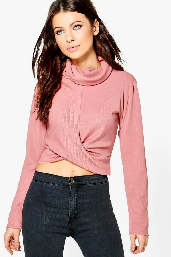 Carla Cowl Neck Ribbed Long Sleeve Crop Top