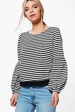 Kimberley Striped Bell Sleeve Oversized Shirt