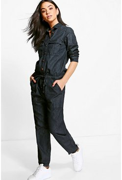 Sofia Denim Tie Waist Boilersuit