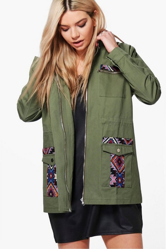 Anna Boutique Aztec Patch & Stud Festival Shacket