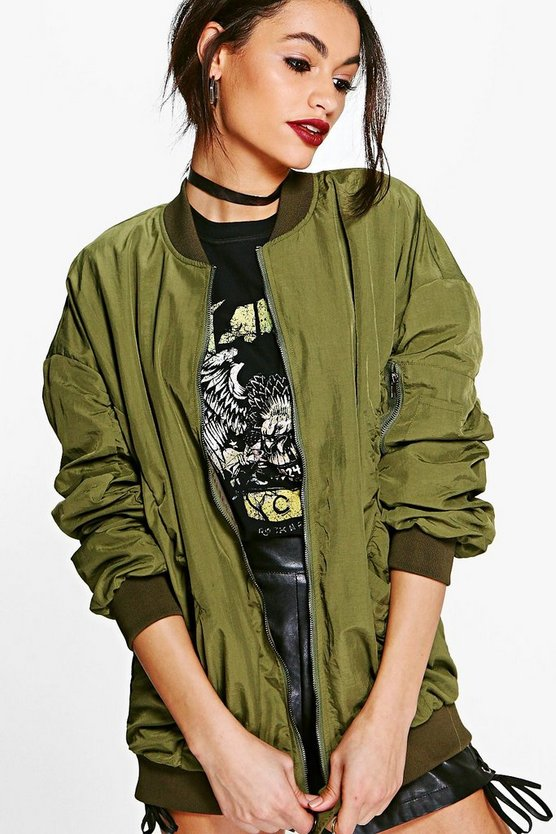 Annabelle Parachute Stitch Zip Through Bomber
