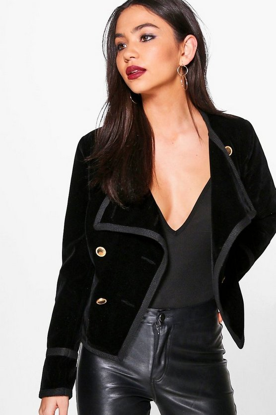 Saskia Boutique Velvet Gold Button Military Jacket