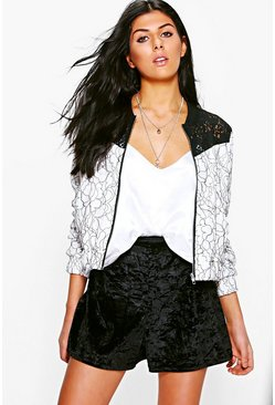 Harriet Boutique Corded Lace Contrast Yoke Bomber