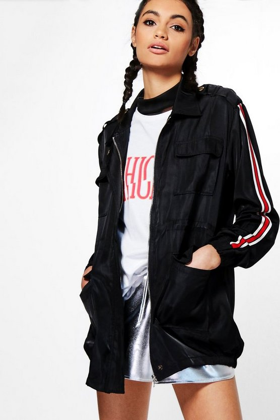Bethany Sporty Sleeve Stripe Utility Jacket