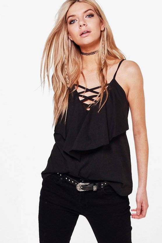 Lace Up Double Layer Cami