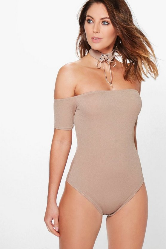 Nora Lace Up Choker Off The Shoulder Bodysuit