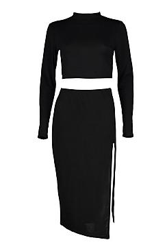 Emma Slinkly Roll Neck Crop Wrap Skirt Co-Ord