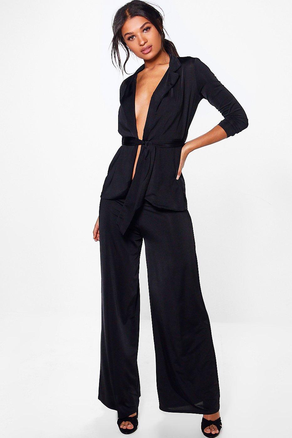 Chelsea Tie Waist Slinky Blazer & Trouser Co-Ord