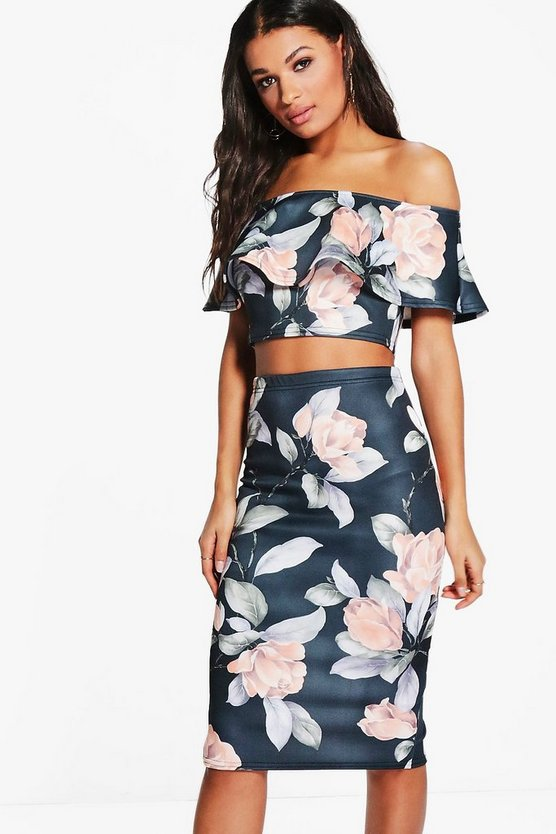 April Floral Off The Shoulder Skirt Co-Ord