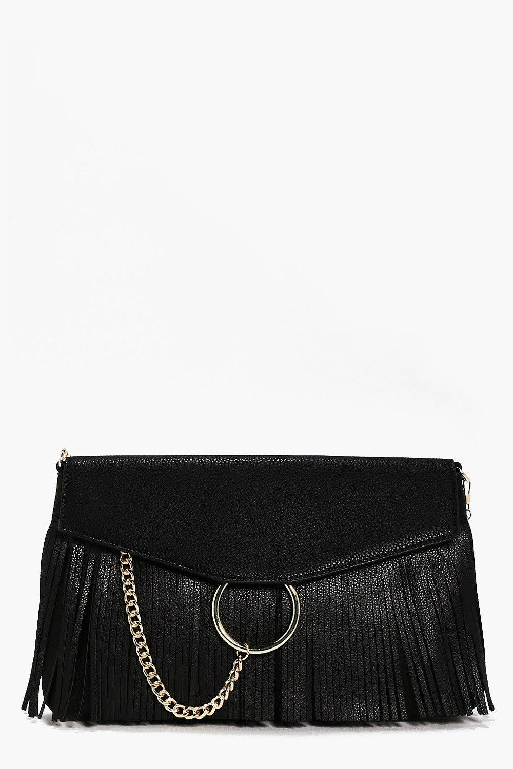 Circle & Fringed Cross Body Bag - black - Lillie C
