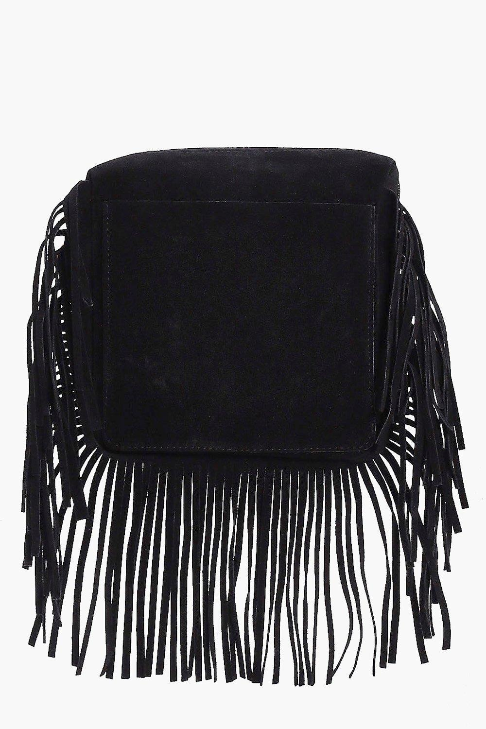 Suedette Fringed Cross Body Bag - black - Laura Su