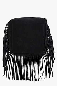Laura Suedette Fringed Cross Body Bag