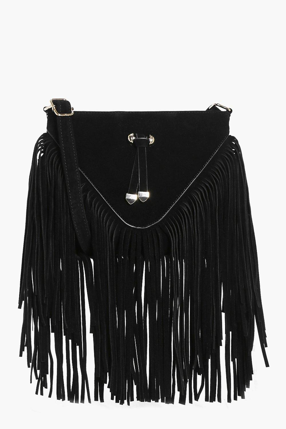 Fringed Suedette Cross Body Bag - black - Natalia