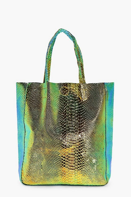 Edie Mermaid Holographic Shopper Beach Bag