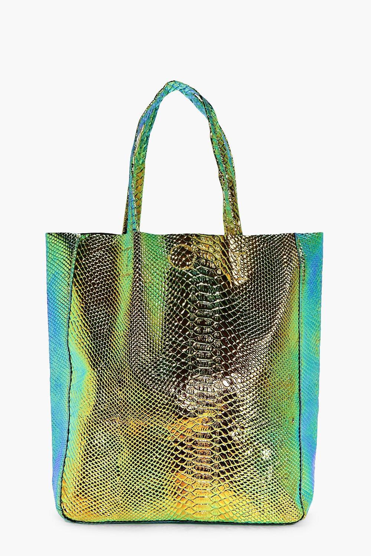 Edie Mermaid Holographic Shopper Beach Bag. Hover to zoom