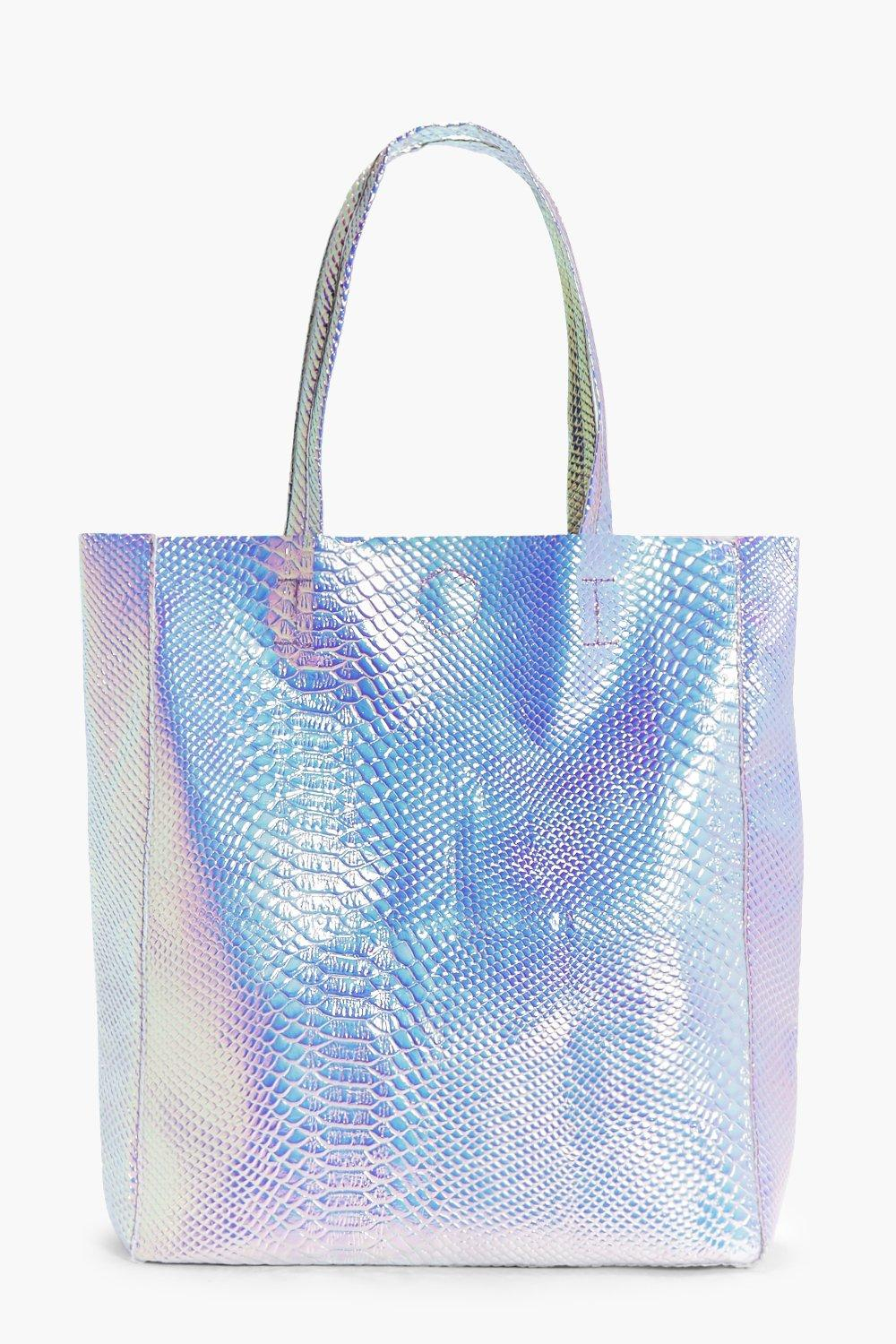 Mermaid Holographic Shopper Beach Bag - pink - Edi