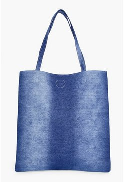 Kara Washed Denim Shopper Bag