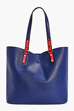 Elsa Unlined Contrast Handle Shopper Bag